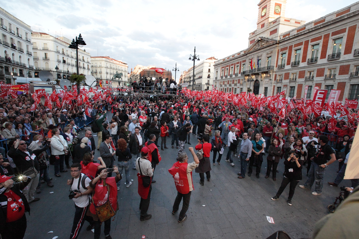 Cabecera de la manifestación en Madrid